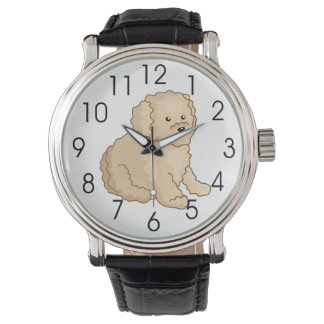 Little Toy Poodle Illustration Wristwatch