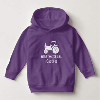 Little tractor girl white purple custom hoodie