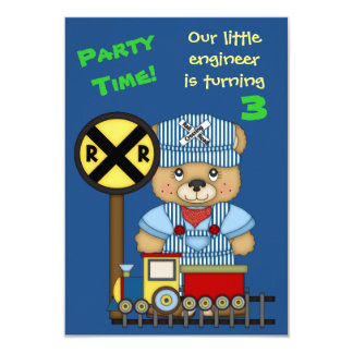 "Little Train Engineer Teddy Bear Birthday Party 3.5"" X 5"" Invitation Card"