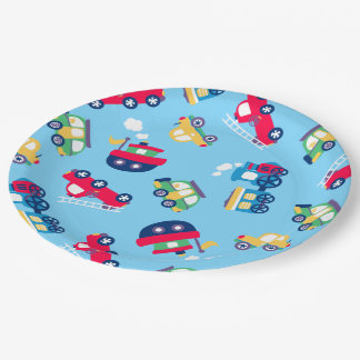 Little transport 9 inch paper plate