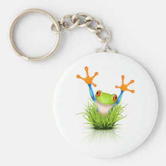Little Tree Frog in the grass Basic Round Button Keychain