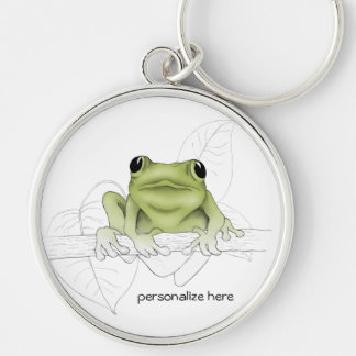 Little Tree Frog Silver-Colored Round Keychain