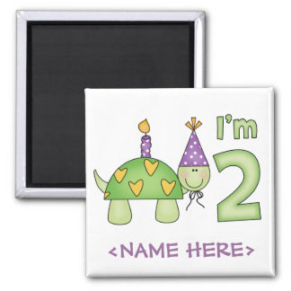 Little Turtle 2nd Birthday Square Magnet