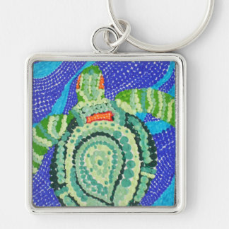 Little Turtle with Many Spots Silver-Colored Square Keychain