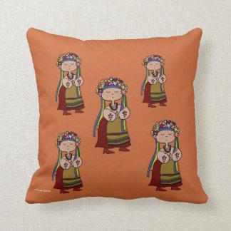 Little Ukrainian Dancer Ukrainian Folk Art Throw Pillow
