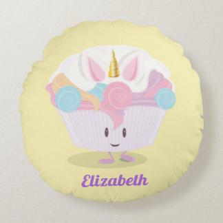 Little unicorn cupcake   Round Pillow