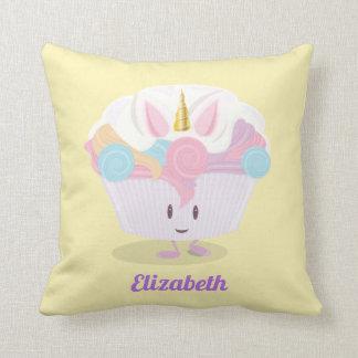 Little unicorn cupcake   Throw Pillow