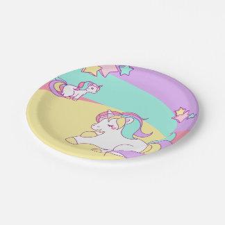 Little Unicorns in Pastel Colors Paper Plate