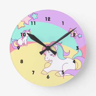 Little Unicorns in Pastel Colors Round Clock