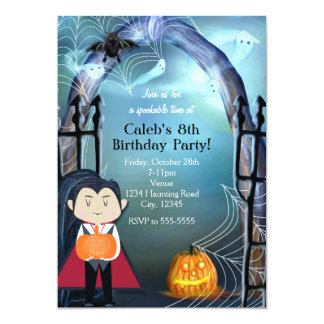 Little Vampire Dracula Halloween Party Invitations