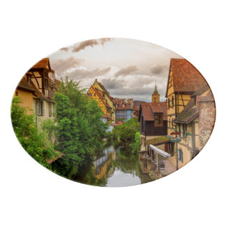 Little Venice, petite Venise, in Colmar, France Porcelain Serving Platter