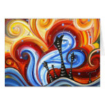 Little Village Original Whimsical MADART Painting Note Card