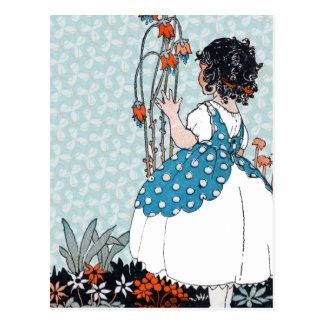 Little Vintage Girl Black Curls in Flowers Postcard