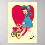 Little Vintage Girl Posters