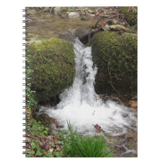 Little waterfall by mossy rocks in the forest notebooks