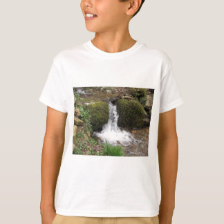 Little waterfall by mossy rocks in the forest T-Shirt