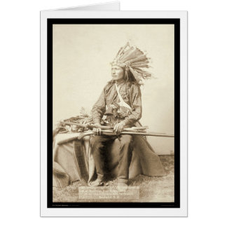 Little, Wearing Headdress at Wounded Knee SD 1890 Card