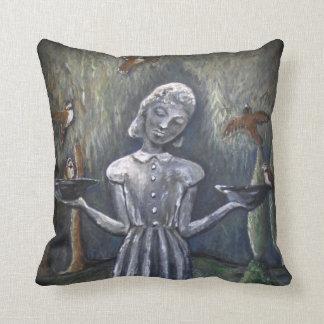 Little Wendy ~ Bird Girl Throw Pillow