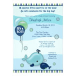 Little Whale Baby and Mommy kiss Baby Shower Personalized Announcement