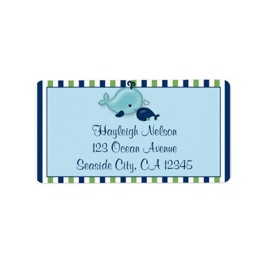 Little Whale Baby Mommy Kiss Address Label