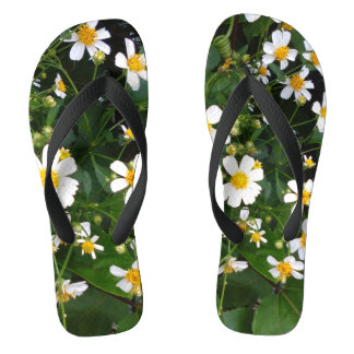 LITTLE WHITE AND YELLOEW FLOWERS FLIP FLOPS