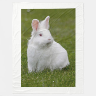 little white bunny rabbit fleece blanket