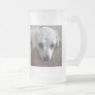 Little White Teacup Poodle Dog Frosted Glass Beer Mug