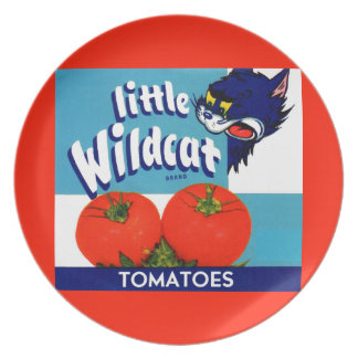 Little Wildcat tomatoes crate label Plate