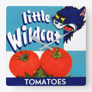 Little Wildcat tomatoes crate label Square Wall Clock