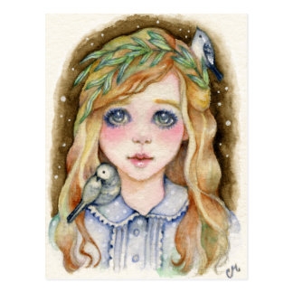 Little Willow - Whimsical Girl Art Postcard