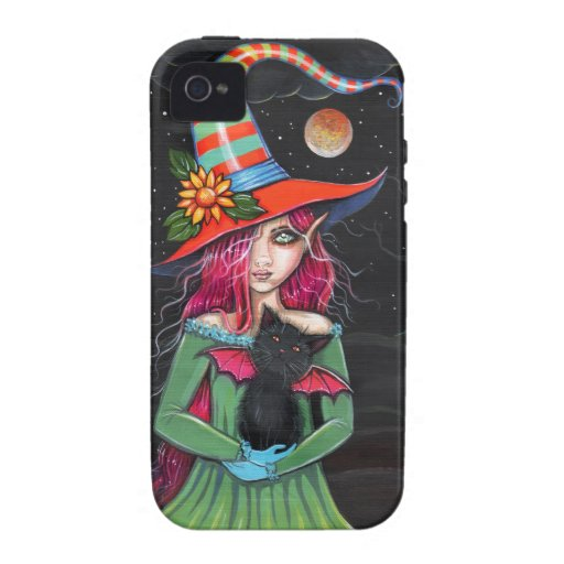 Little Wings Witch and Winged Cat Halloween Art iPhone 4 Cover