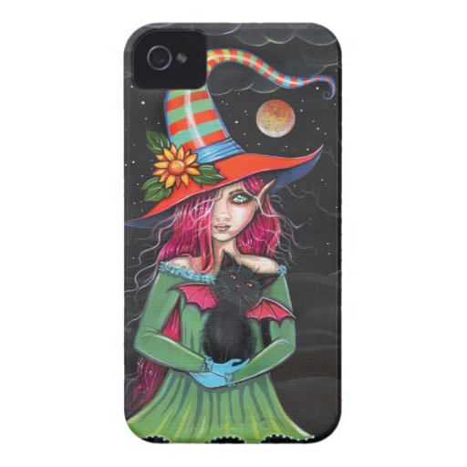 Little Wings Witch and Winged Cat Halloween Art Blackberry Cases