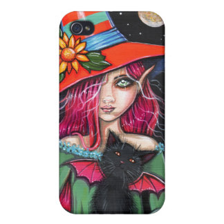 Little Wings Witch and Winged Cat Halloween Art iPhone 4/4S Cases