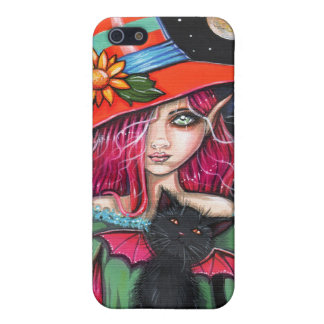 Little Wings Witch and Winged Cat Halloween Art iPhone 5/5S Cover
