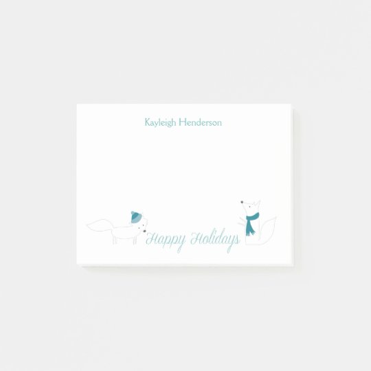 Little Winter Foxes Happy Holidays Personalized Post-it® Notes