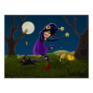 Little Witch and Bell Kitten Print