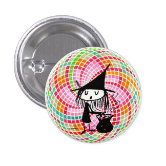 little witch and sacred geometry 1 inch round button