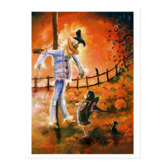 Little Witch and Scarecrow Postcard