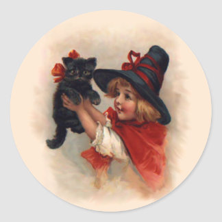 Little Witch Girl Classic Round Sticker