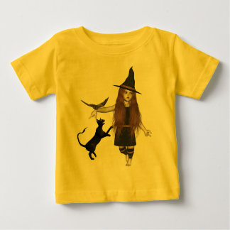 Little Witch Kid Pet Bat Scary Cat T-Shirt