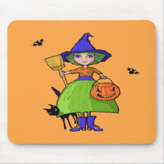 Little Witch pumpkin Mousepad