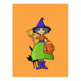 Little Witch pumpkin Postcard