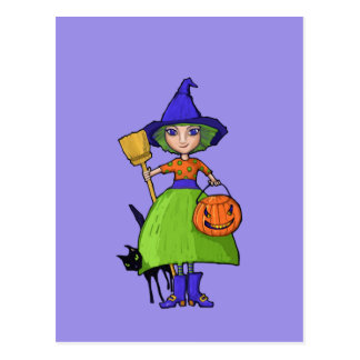 Little Witch purple Postcard