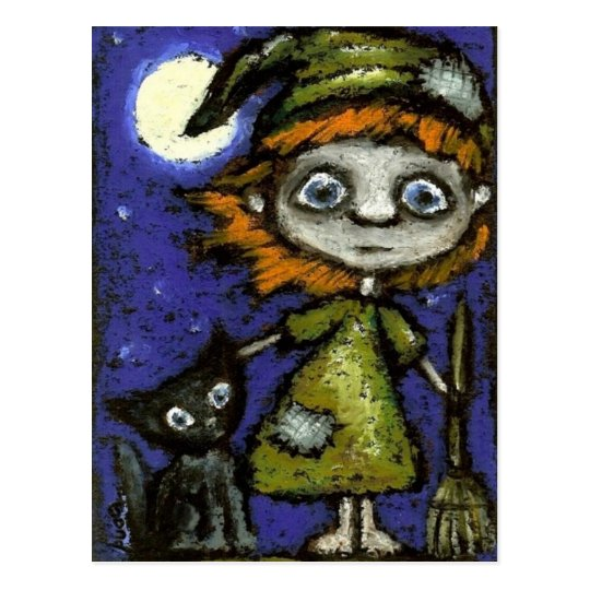 Little witch with black cat postcard