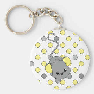 Little Yellow Ears Basic Round Button Keychain