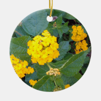 LITTLE YELLOW FLOWERS CERAMIC ORNAMENT