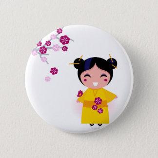 Little yellow Geisha on white 2 Inch Round Button