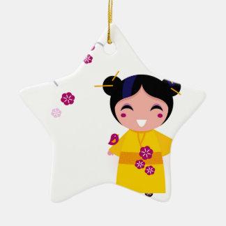 Little yellow Geisha on white Ceramic Ornament