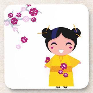 Little yellow Geisha on white Coaster