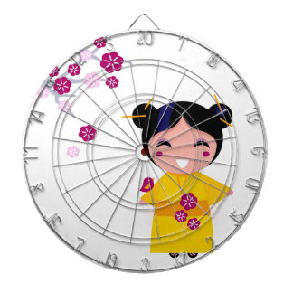 Little yellow Geisha on white Dartboard